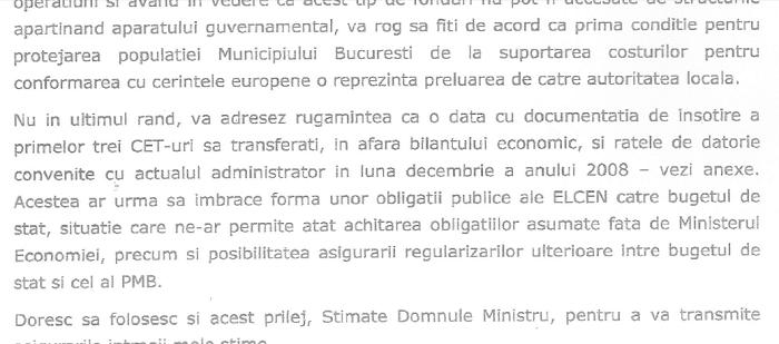 Primarul Oprescu îi cere ministrului Videanu CET-urile pe care acesta i le ceruse, la rândul său, lui Vosganian. Nu primeşte răspuns. (Click pentru mărire)