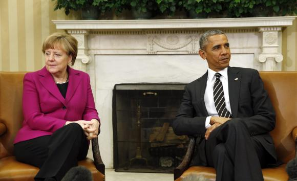 Obama meets German Chancellor Angela Merkel at the White House in Washington