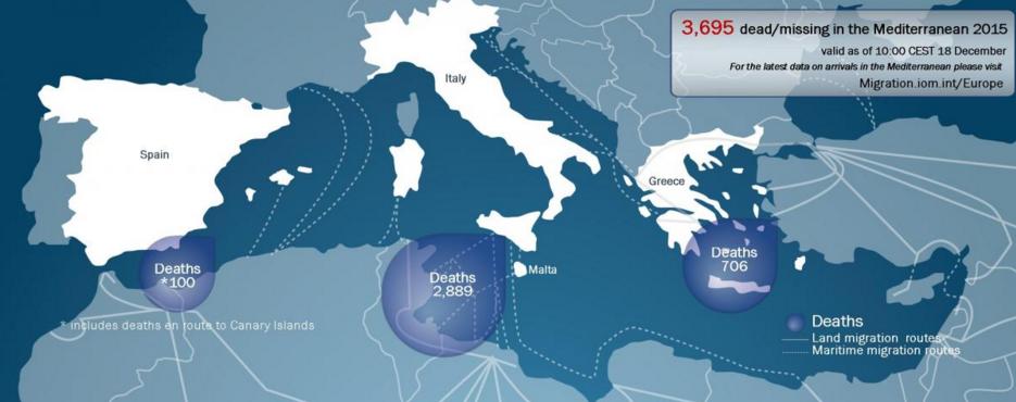 harta refugiati morti intrare europa