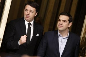 Italian Premier Matteo Renzi meets Greek Prime Minister Alexis Tsipras