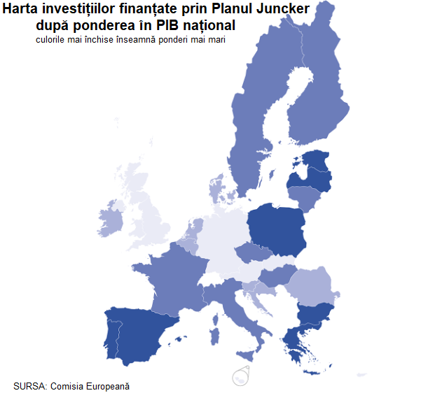 The map of investment financed through Juncker Plan, by GDP share. Darker colours mean higher shares