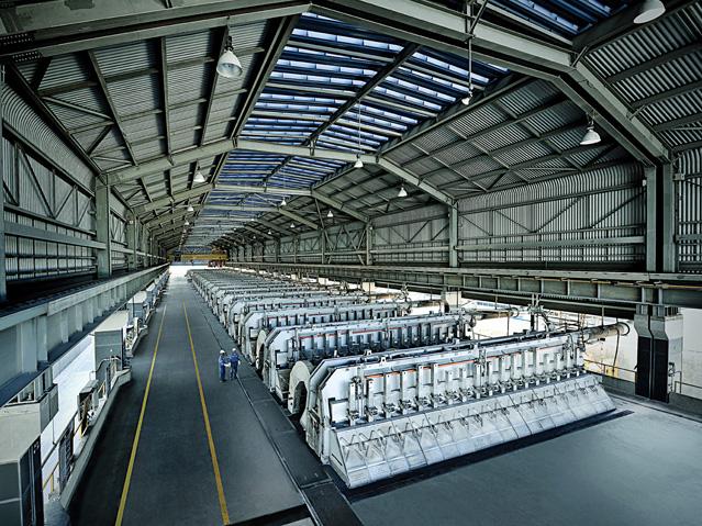 Hală de electroliză pentru producția de aluminiu